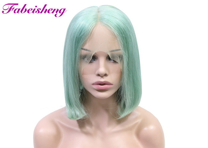 10A Grade Green Color Full Lace Wigs / 12 Inch Short Bob Wigs Human Hair
